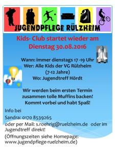 Kids Club ab Augus 2016